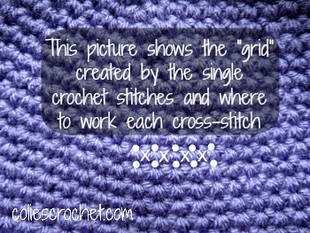 How to cross-stitch on crochet - Colie's Crochet - coliescrochet.com