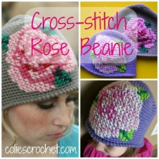 Cross-stitch Rose Beanie Pattern from Colie's Crochet - coliescrochet.com