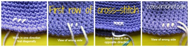 First row how to cross-stitch on crochet - Colie's Crochet - coliescrochet.com