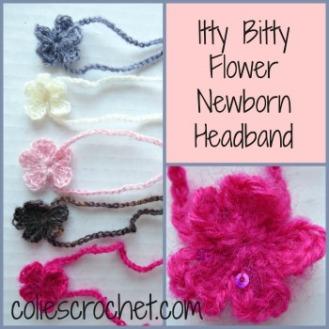Itty Bitty Flower Newborn Headband, coliescrochet.com
