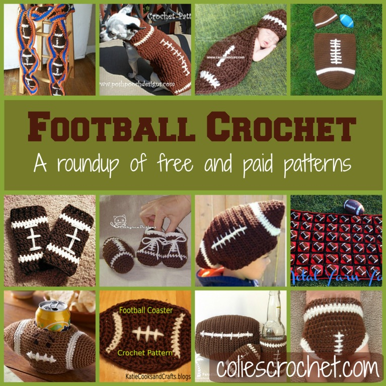Football Applique Colies Crochet