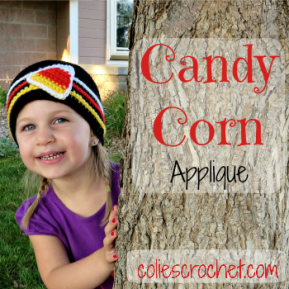 Crochet Candy Corn Applique | FREE Pattern | Colie's Crochet | coliescrochet.com