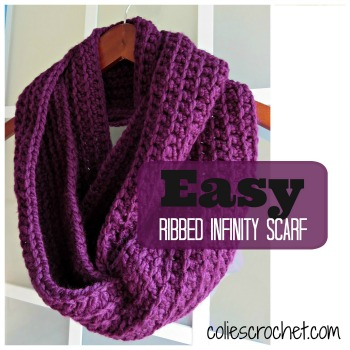 Easy Ribbed Infinity Scarf Colies Crochet